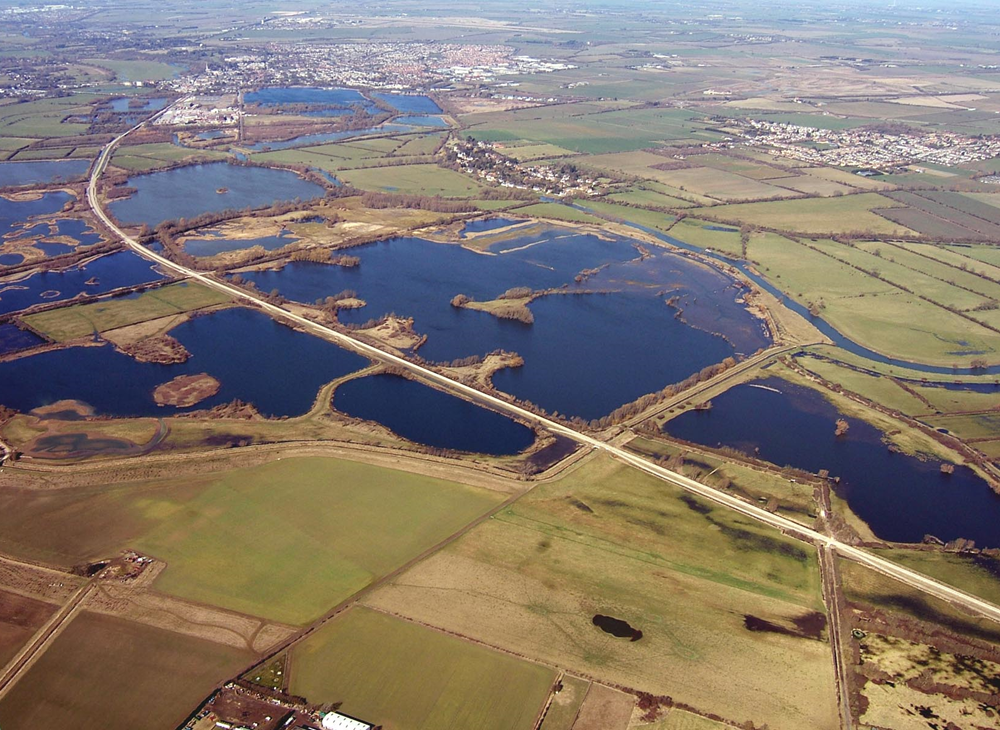 Aerial view of guided busway